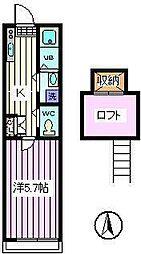 埼玉県さいたま市南区内谷2丁目の賃貸アパートの間取り