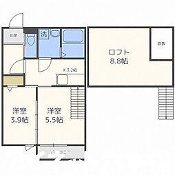 福岡市地下鉄七隈線 野芥駅 徒歩4分の賃貸アパート 2階1SLDKの間取り