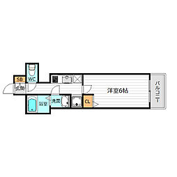 JR大阪環状線 桜ノ宮駅 徒歩12分の賃貸マンション 4階1Kの間取り