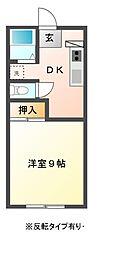 栃木県宇都宮市峰3丁目の賃貸アパートの間取り