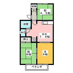 サンハイツIIA棟[2階]の間取り