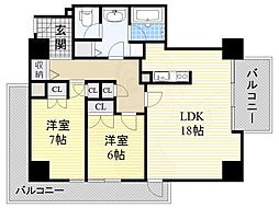 阪急神戸本線 十三駅 徒歩7分の賃貸マンション 12階2LDKの間取り