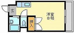 岡山県岡山市中区新京橋1丁目の賃貸アパートの間取り