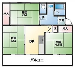 ビレッジハウス直方 1棟[1階]の間取り