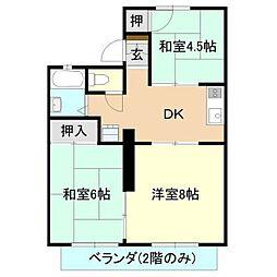 シャトレ岡野[2階]の間取り