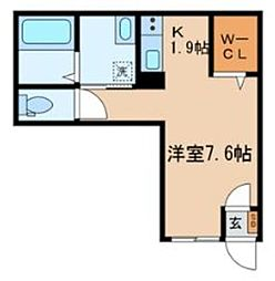 JR埼京線 板橋駅 徒歩5分の賃貸マンション 1階ワンルームの間取り