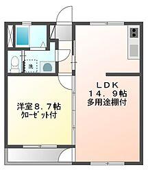 静岡県静岡市駿河区丸子3丁目の賃貸マンションの間取り