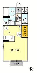 エーデルハイム絆 1階ワンルームの間取り