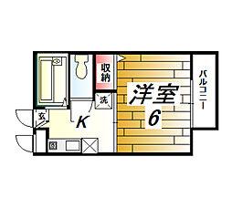 兵庫県西宮市山口町上山口の賃貸アパートの間取り