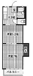 埼玉県入間郡毛呂山町大字毛呂本郷の賃貸アパートの間取り
