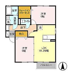 千葉県柏市手賀の杜1の賃貸アパートの間取り