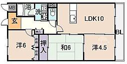 タウンコート咲佳映[6階]の間取り