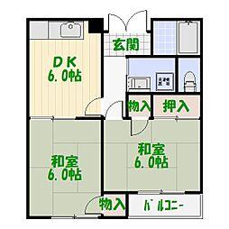 東京都葛飾区白鳥1丁目の賃貸アパートの間取り