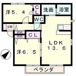 滋賀県草津市追分2丁目の賃貸アパートの間取り