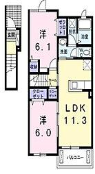 イーストメゾン I[2階]の間取り