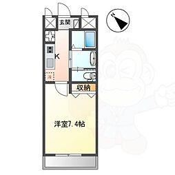 長岡京新築1Kマンション 2階1Kの間取り