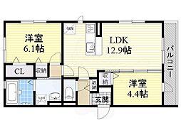 泉北高速鉄道 深井駅 徒歩13分の賃貸アパート 2階2LDKの間取り