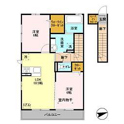 仮)D-room下貝塚[201号室]の間取り