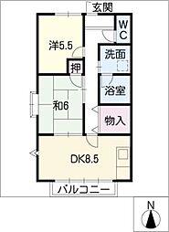 愛知県北名古屋市九之坪長堀の賃貸アパートの間取り