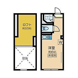 ネクサス新宿 戸山公園 2階ワンルームの間取り