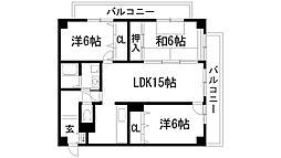 ボヌール宝塚[2階]の間取り