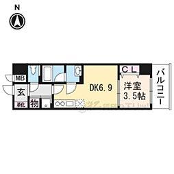 京都地下鉄東西線 椥辻駅 徒歩6分の賃貸マンション 3階1DKの間取り