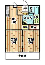 福岡県北九州市小倉北区高峰町の賃貸アパートの間取り