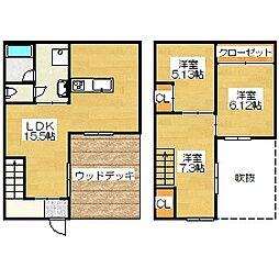 福岡県太宰府市通古賀1丁目の賃貸アパートの間取り