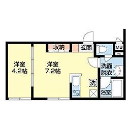 新潟県新潟市中央区西堀前通10番町の賃貸アパートの間取り