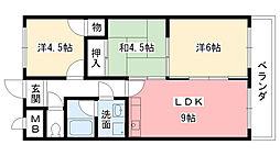 兵庫県西宮市戸崎町の賃貸マンションの間取り