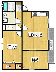 茨城県日立市東金沢町5丁目の賃貸アパートの間取り