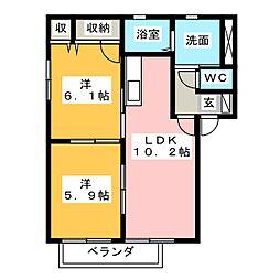 VILLAGE秋葉[2階]の間取り