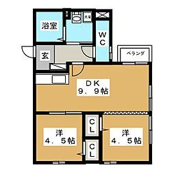 宮城県仙台市宮城野区福室1丁目の賃貸アパートの間取り