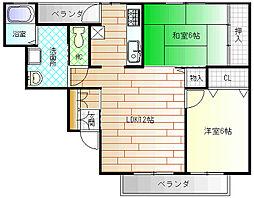 大阪府八尾市八尾木3丁目の賃貸アパートの間取り