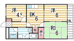 大阪府大東市灰塚5丁目の賃貸アパートの間取り