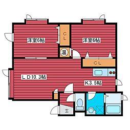 クレスト2002[2階]の間取り