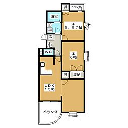 ベルパークA[1階]の間取り