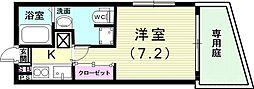 山陽電鉄本線 山陽須磨駅 徒歩5分の賃貸アパート 1階1Kの間取り