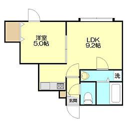 札幌市営東西線 大谷地駅 バス16分 真栄2条2丁目下車 徒歩2分の賃貸アパート 3階1LDKの間取り