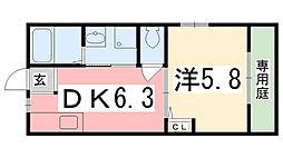 兵庫県姫路市広畑区北河原町の賃貸アパートの間取り