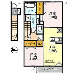 (仮称)三木市福井D-room[206号室]の間取り
