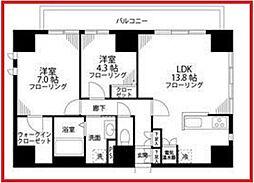 東京都台東区竜泉3丁目の賃貸マンションの間取り