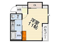 JR阪和線 上野芝駅 徒歩5分の賃貸アパート 1階ワンルームの間取り