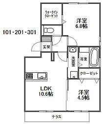 D-room笹山ヒルズ[2階]の間取り