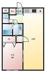 セントラルマンション 伊豆長岡 2階1LDKの間取り