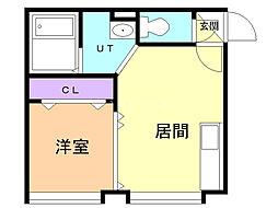 ドエルてん澄川(旧North  CubeIII) 1階1DKの間取り