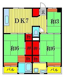 ビレッジハウス江戸川台3号棟[1階]の間取り