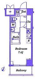 横浜市営地下鉄ブルーライン 阪東橋駅 徒歩5分の賃貸マンション 8階ワンルームの間取り