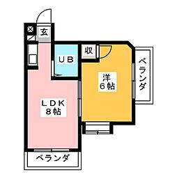 三松ハイツ[4階]の間取り