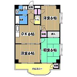 東京都八王子市元八王子町3丁目の賃貸マンションの間取り
